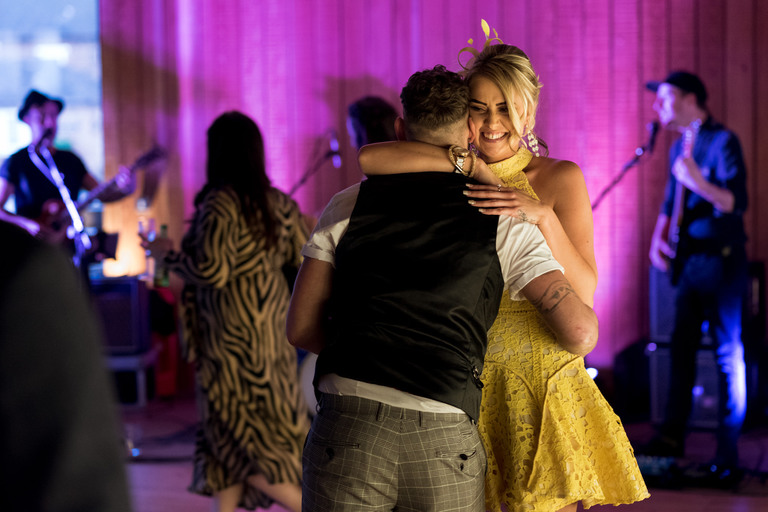 young couple having an intimate dance