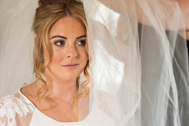 close up of bride after bridal preparations