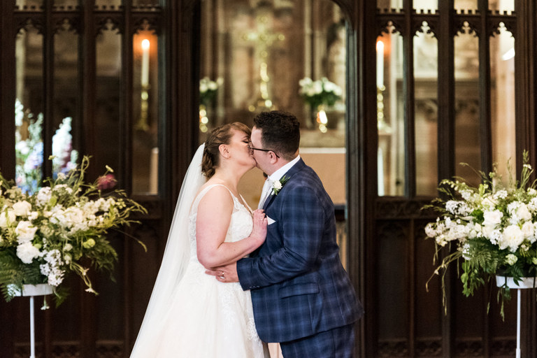 just married in church first kiss