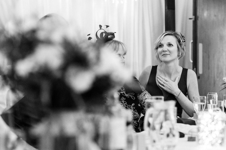 emotional bridesmaid during the speeches