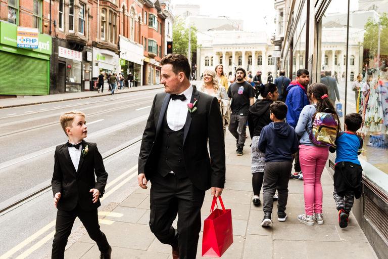 groom walking to the wedding