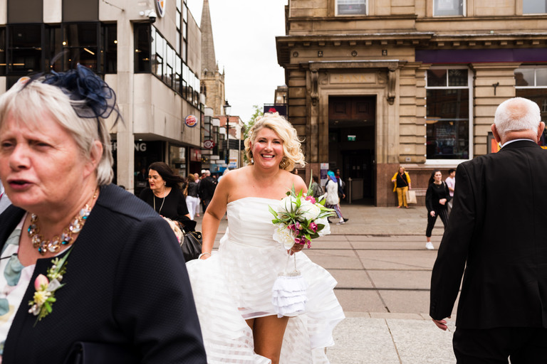 bride walking to the wedding