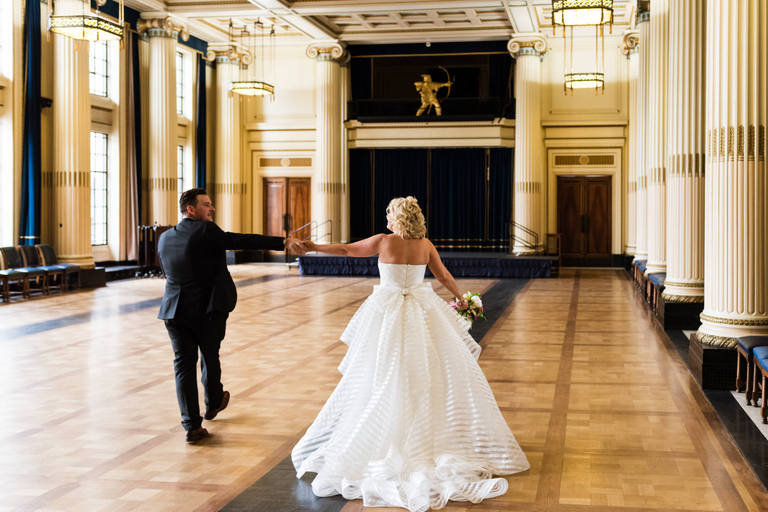 newlyweds dancing in the great hall