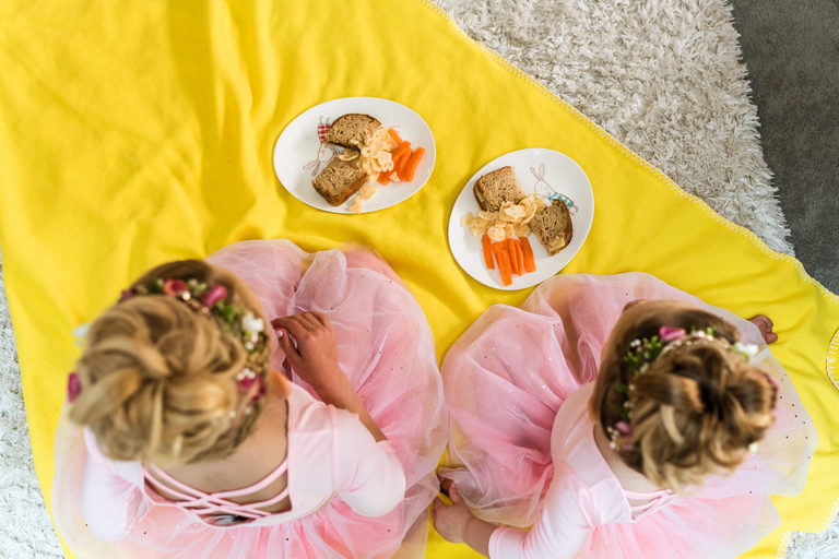 bride's daughters having lunch