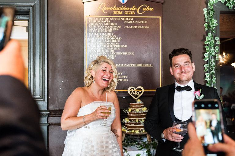 bride and groom give informal speech