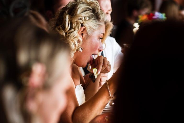 bride doing tequila shots