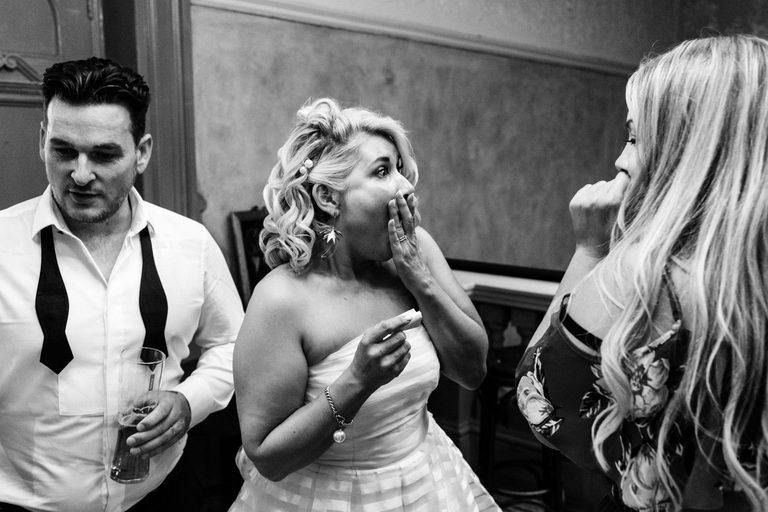 bride hearing some shocking news
