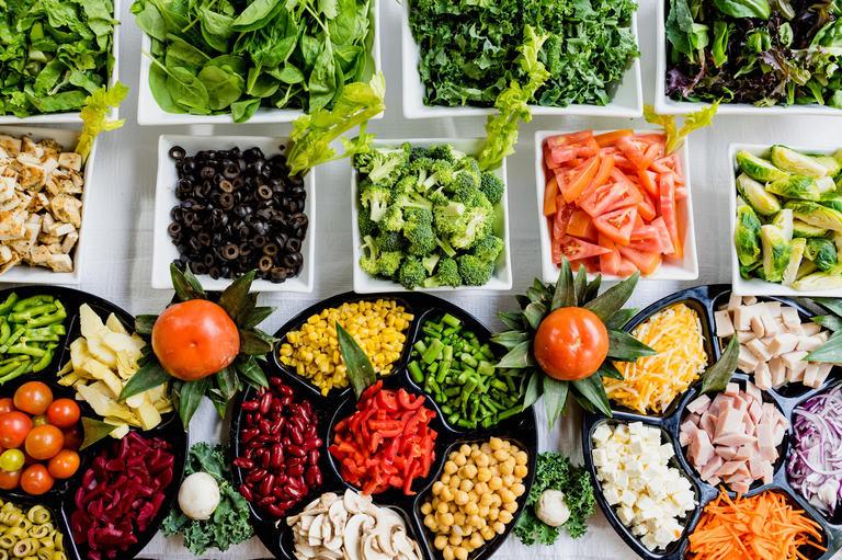 bowls of fresh vegetables