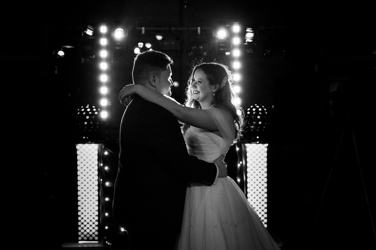 atmospheric bride and groom first dance