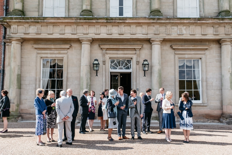 wedding guests outside staunton harold hall